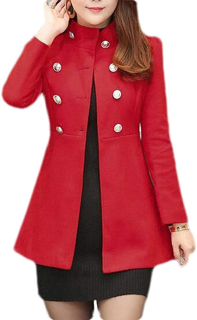 MK988 Women's Double Breasted Winter Slim Fit Solid Color Pea Coat Jacket