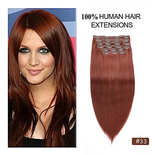 "Beauty : Dark Auburn Clip in Hair Extensions Full Head, Re4U 18"" Copper Red Straight Clip on Extensions 150grams 10pcs Remy Human Hair Thick Full Ends (18"" 10pcs 150g #33 Dark Auburn)"