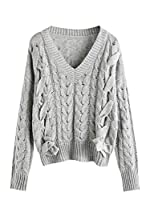 MakeMeChic Women's Autumn V Neck Pullover Lace Up Cable Knit Sweater Jumper