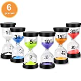 EMDMAK Sand Timer Colorful Hourglass Sandglass Timer 1 min/3 mins/5 mins/10 mins/15 mins/30 mins Sand Clock Timer for Games Classroom Home Office(Pack of 6)