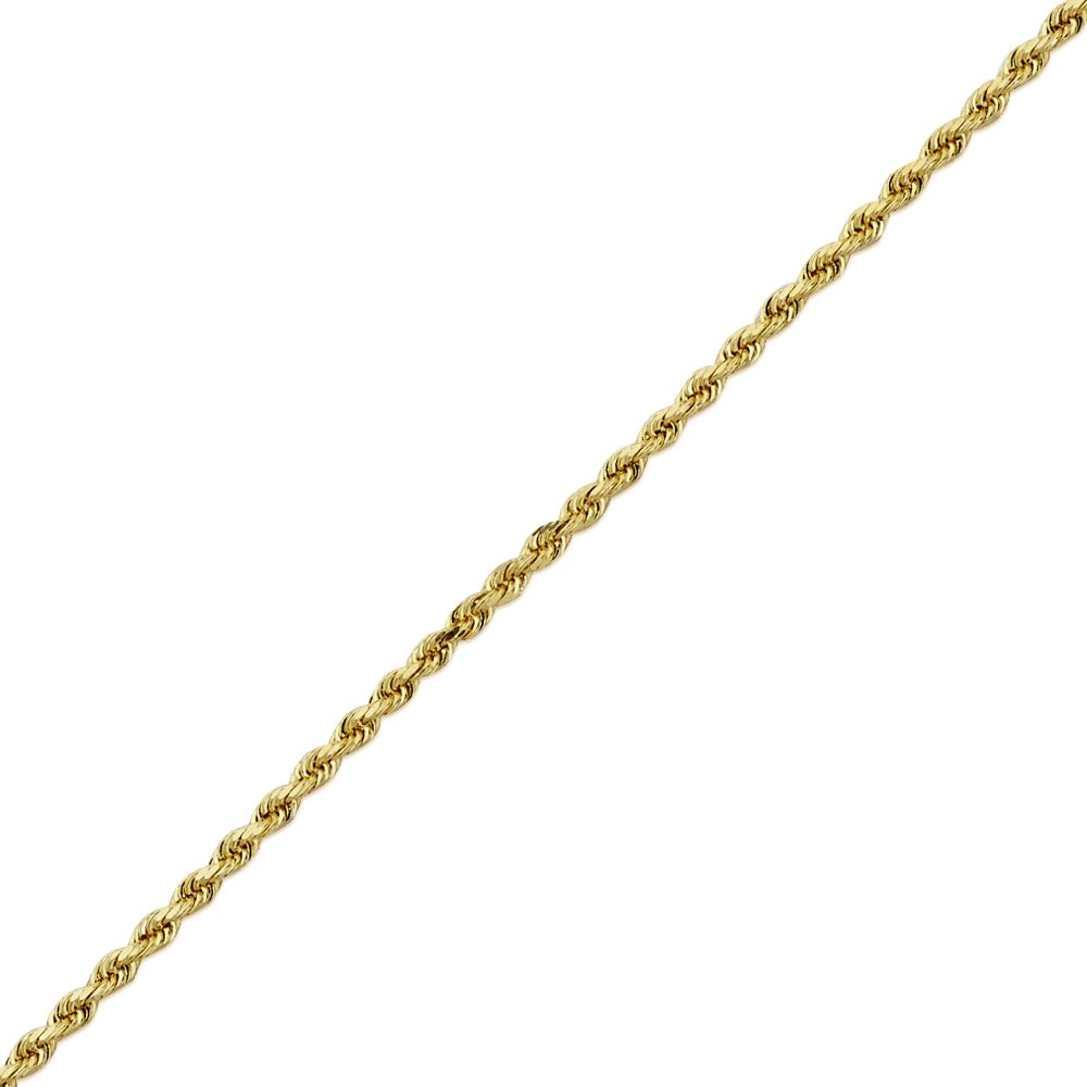 Mens Womens with Lobster Lock 24 LoveBling 14K Yellow Gold 1.8mm Diamond Cut Rope Chain Necklace