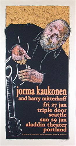 Original Limited Signed - Jorma Kaukonen Original Limited Edition Signed Silkscreen by Gary Houston