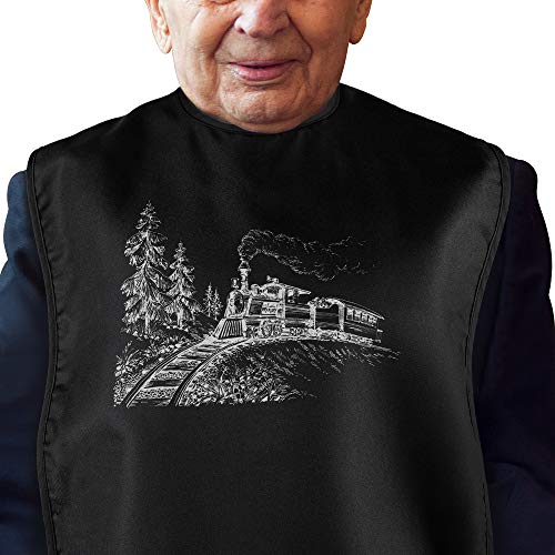 Adult Bibs for Eating: Reusable Adult Size Bib for Men - Machine Washable Waterproof Clothing Protector with Crumb Catcher - Classic Steam Train Edition (Black)