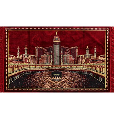 Large Islamic Velvet Area Rug Carpet Wall Tapestry Muslim Group Prayer Rug Mecca Masjid Al Haram Kaba by Modefa