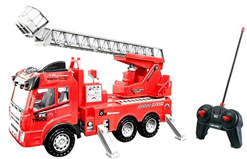 Toy Rc Rescue Fire Engine Truck Multi-function Remote Control w/ Extending Ladder, by Bo Toys