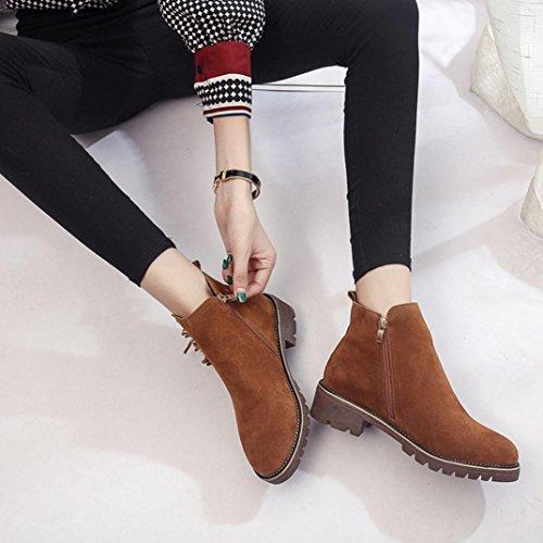 Transer® Damen Flach Kunstleder Stiefeletten Warm Knöchel Kurz Stiefel Winter Schuhe Martin Boot mit Quaste & Nieten Braun