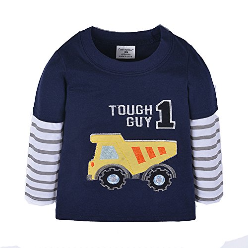 Uudora Baby Boy's and Girl's Karting Embroidery Casual Long Sleeves T-Shirts 1-6Y