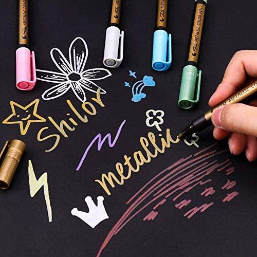 Jhua 71-50 Paint Marker Pens Acrylic Paint Pens Set 10 Colours Metallic Marke...