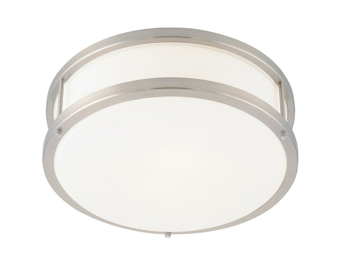 Conga - 1-Light 12''dia Flush Mount - Brushed Steel Finish - Opal Glass Shade