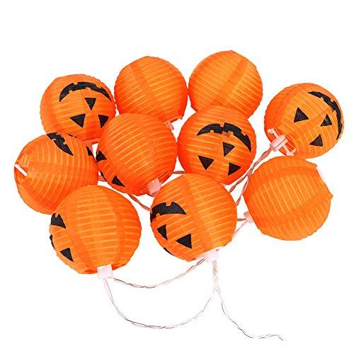Jolik Pumpkin String Lights DIY Polyester Halloween Pumpkin Lanterns with 20 LED Lights for Halloween Decoration ()