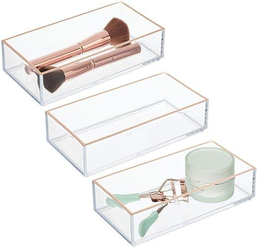mDesign Juego de 3 Cajas organizadoras de cosméticos – Práctico ...