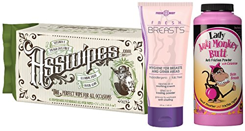 FRESH BREASTS, LADY ANTI MONKEY BUTT, and ASSWIPES Ladies Stay Fresh Bundle Kit! Fresh Breasts Antiperspirant, Lady Anti Monkey Butt Anti Chaffing Powder and ASSWIPES All Over Wipes! ()