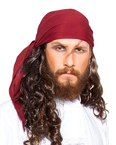Halloween Pirate Medieval Renaissance Linen Triangle Bandana [Red] -