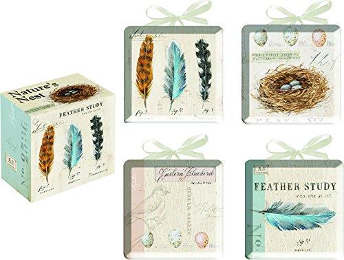 Nature's Nest Feathers Ceramic Decorative Mini Plates Set of 4