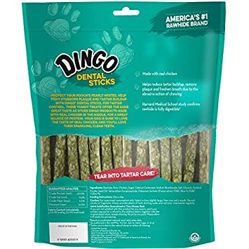 Dingo Tartar and Breath Dental Sticks for All Dogs, Made with Chicken Dental Dog Chew