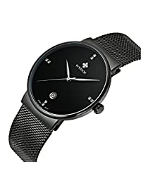 WWOOR Men's Ultra Thin Mesh Band Stainless Steel Watches Male Elite Sports Date Wrist Watch Black