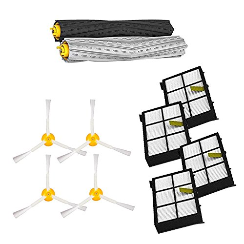 Amyehouse Replenishment Kit for iRobot Roomba 800 900 Series 805 860 870 871 880 890 960 980 Robotic Vacuum Cleaner Accessory,Replacement Parts with Debris Extractor Set and Filter 3 Arm Brush (Set Replenishment)