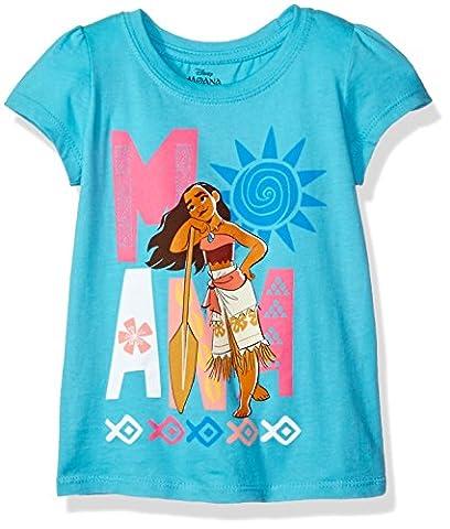 Disney Little Girls' Toddler Moana Short-Sleeved T-Shirt, Aqua Turquoise, 4T - Turquoise Girls Shirt
