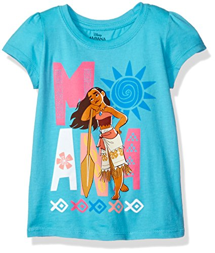 Disney Little Girls' Toddler Moana Short-Sleeved Tee, Aqua Turquoise