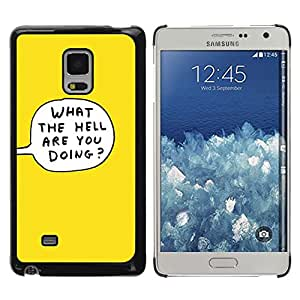 iKiki Tech / Estuche rígido - Yellow Cartoon Bubble What The Hell Doing - Samsung Galaxy Mega 5.8 9150 9152