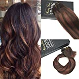 Sunny Full Head Dip and Dye Ombre Clip in Human Hair Extension 16 Inches Darkest Brown to Dark Auburn Brown Remy Clip in Extensions 120gram