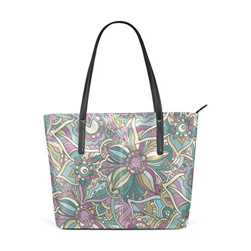 acf8ad93853c7 COOSUN Hippie Doodle Blumen und Blätter PU Leder Schultertasche Handtasche  und Handtaschen Tasche für Frauen