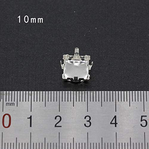 Pukido 30p Empty Base Setting sew on Rhinestone Faceted Crystal Jewels's Silver Plated Blank Claw for Stone Clothing Accessories Link 2 - (Color: 10mm Square) ()