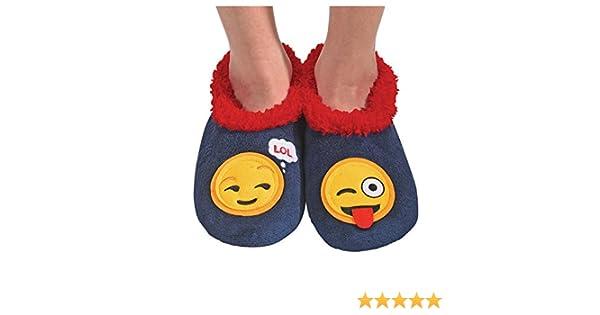 2e95d2fd0cf Amazon.com  Snoozies Womens Classic Splitz Applique Slipper Socks - Emoji