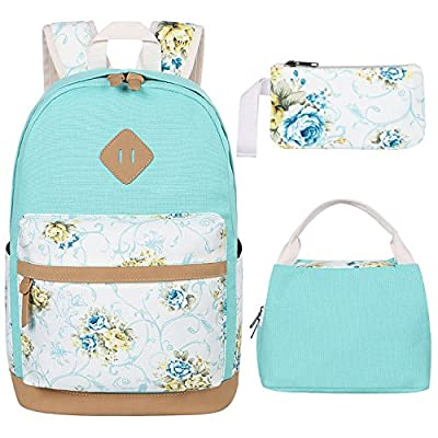 BLUBOON Teens Backpack for School Girls Bookbags Set Canvas Laptop Backpack Lunch Bag Pencil Purse (Mint Green) | Kids' Backpacks