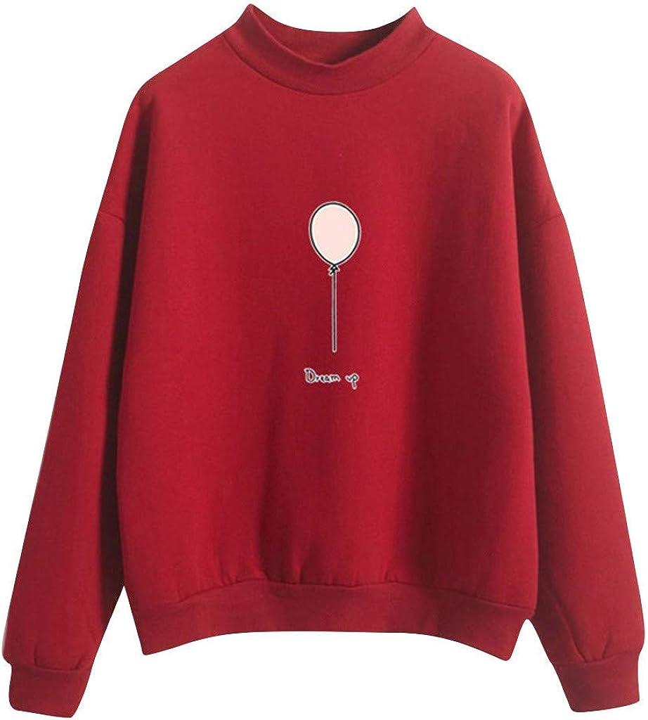 Women Pullover Autumn Cute O-Neck Solid Color Balloon Pattern Long Sleeve Fleece Sweatshirt Tops