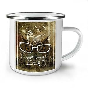 Hippie Owl Animal Hippie White Enamel Mug 10 oz | Wellcoda