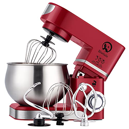 Stand Mixer 6L 1200W Food Mixer Stylish Kitchen Mixer with Bowl, Beater, Hook, Whisk (RED)