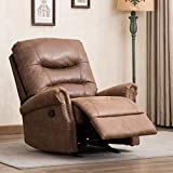 CANMOV Breathable Bonded Leather Rocker Recliner Chair, Classic and Retro Design 1 Seat Sofa Manual Recliner Chair with Overstuffed Arms and Back, Chocolate