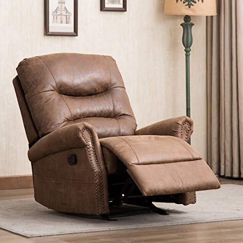 Leather Rocker Recliner Bonded - CANMOV Breathable Bonded Leather Rocker Recliner Chair, Classic and Retro Design 1 Seat Sofa Manual Recliner Chair with Overstuffed Arms and Back, Chocolate
