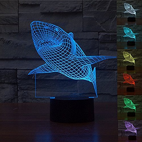 WOlight 3D Shark iLLusion Light 7 Colors Changing Table Desk Deco Lamp Bedroom Children Room Decorative Night Light(Shark)