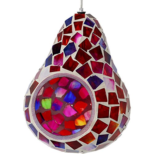 Sunnydaze Ruby Mosaic Hanging Bird Feeder, Outdoor Decorative Glass, 6-Inch