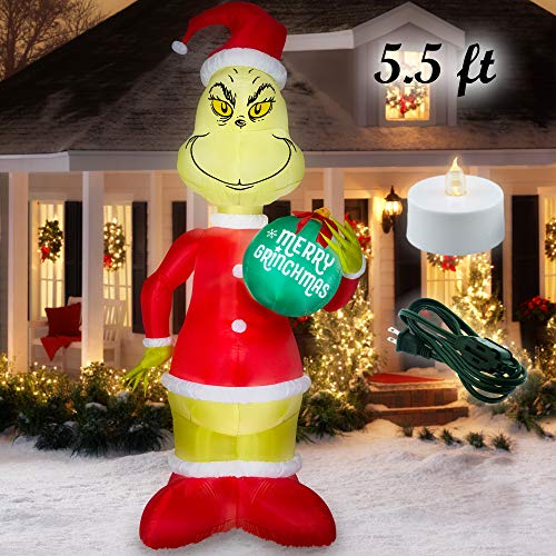 Holiday Time 5.5 ft. Christmas Grinch in Santa Suit Inflatable ()