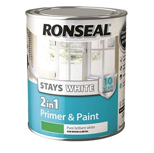 Ronseal RSLSW21MP750 Stay 2-in-1 Matt Paint, White, 750 ml