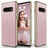 Galaxy S10 Plus Case, LOHASIC Ultra Slim Leather Soft Flexible Vintage Full Body Non-Slip Grip Lovely Pink Protective Cover Girly Cases for Samsung Galaxy S10 Plus (2019) - Rose Gold