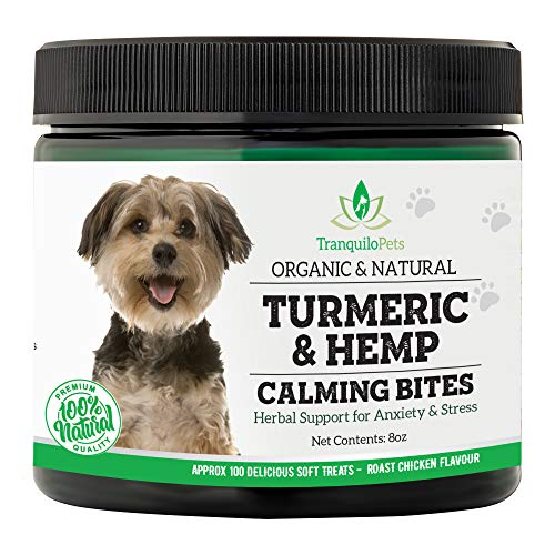- Tranquilo Pets Turmeric & Hemp Calming Treats for Dogs – Effective Anxiety and Stress Relief - 100% Organic and Natural - Helps with Separation Anxiety, Storms, Barking - Made in USA – 100 Count