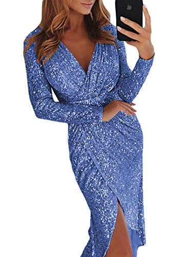 (Elapsy Womens Ladies Sexy Elegent V Neck Long Sleeve Sequins Wrapped Ruched Irregular Party Cocktail Club Dress Outfit Blue)