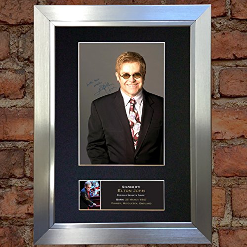 #162 Elton John Signed Autograph Photo Reproduction Print A4 Rare Perfect Birthday (297 x 210mm) (Silver Frame)