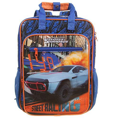 Mochila G Fast & Furious Max Super, Dermiwil, 37871, Azul e Laranja