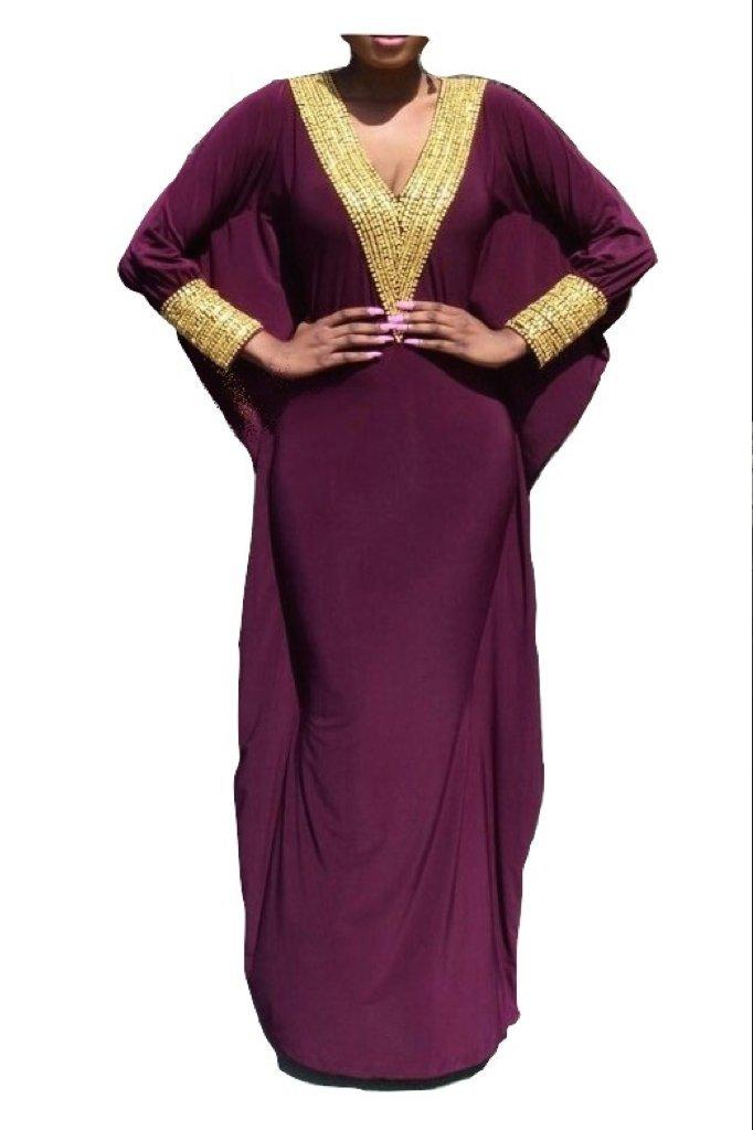 Velove - Fitted Batwing 2 - Hand-beaded Kaftan, Dress, Abaya (Large, Purple)