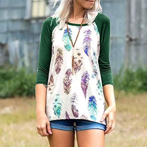 Plumes Impression Shirt Haut 3 Vert Rond T Femmes Blouse Col Manches 4 AIMEE7 Top de 5g7Sqx