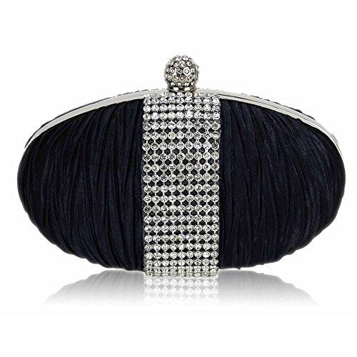 TrendStar - Cartera de mano mujer - Navy Satin Clutch Bag