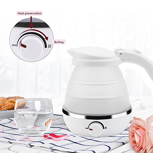 White 0.5L Foldable Travel Electric Kettle Food Grade Silicone Collapsable Portable Water Kettle, Easy & Convenient Storage - Boil Dry Protection 110-120V US - 1/2 Faucet Kettle