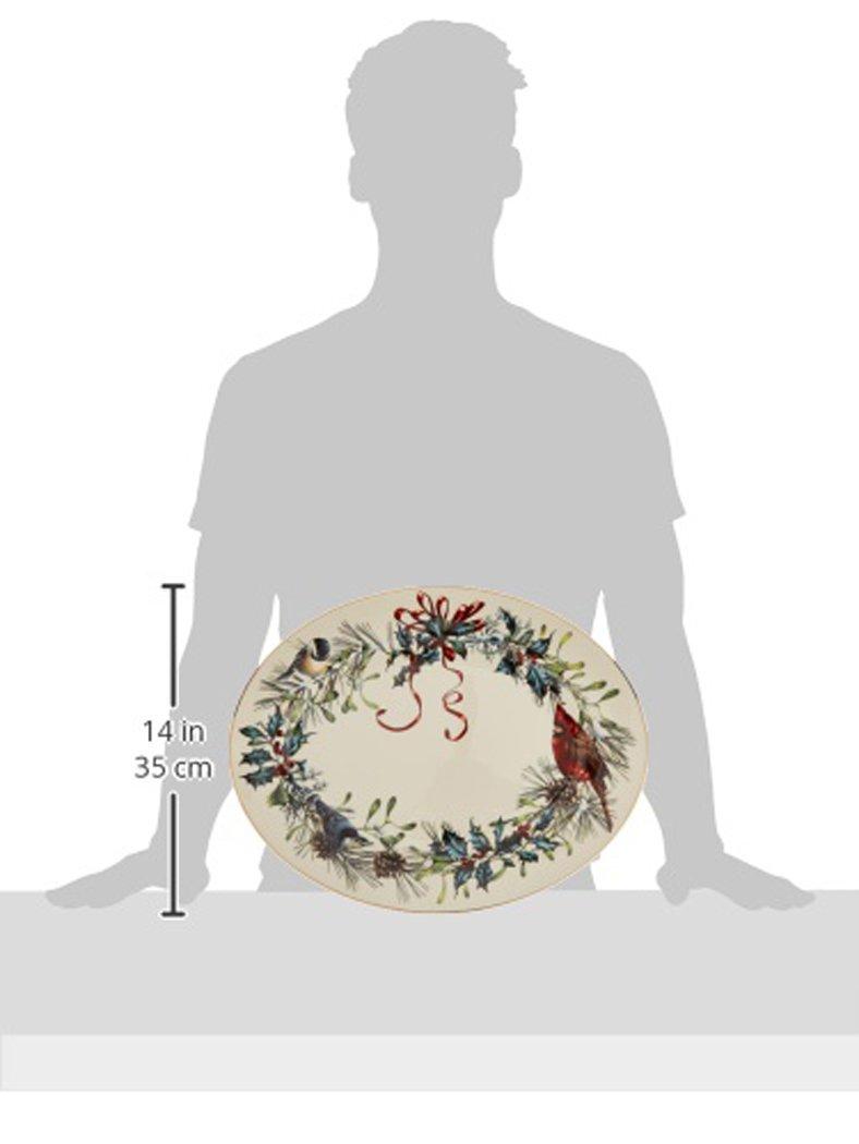 Lenox Winter Greetings 16'' Oval Platter,Ivory, Gold