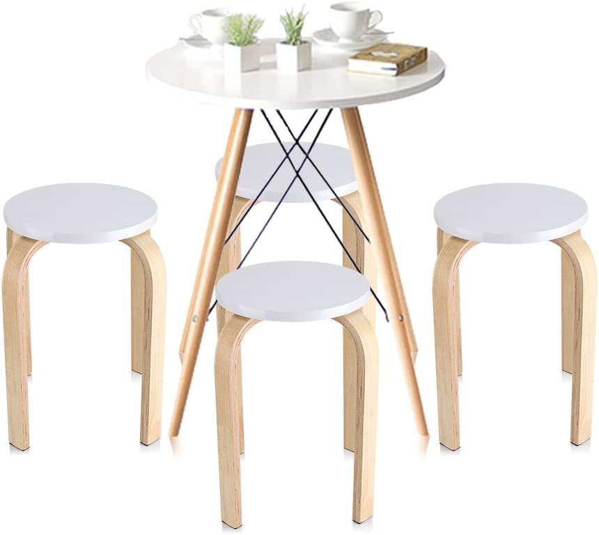 GOTOTOP Wooden Stackable Stool for Shower, Bathroom, Bedroom, Home, 40 x 45.5 cm white White