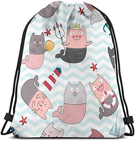 ヴィンテージかわいいコミック猫人魚と海ビーチアイテムピンクパステル漫画シェブロン巾着バックパックバッグジムダンスバッグ誕生日ギフト用キッズティーン17×14インチ